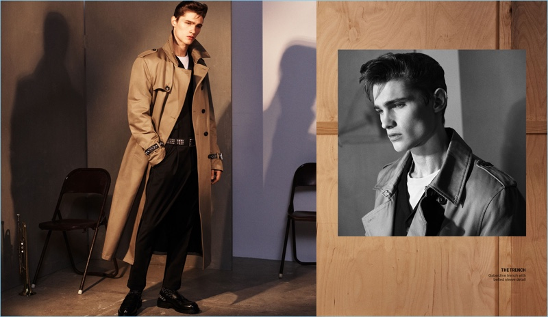 Lukas Marschall dons a trench from Zara Man's fall 2018 campaign collection.