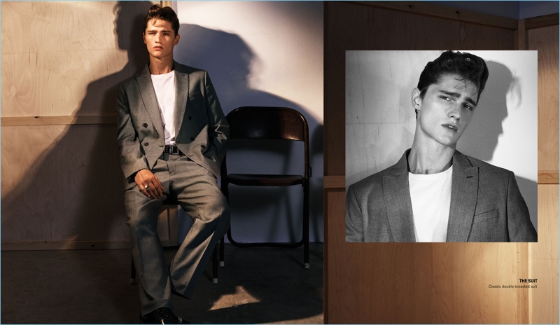 Mikael Jansson photographs Lukas Marschall in a double-breasted suit from Zara Man.