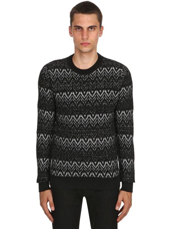 Zigzag Wool Knit Sweater With Lurex