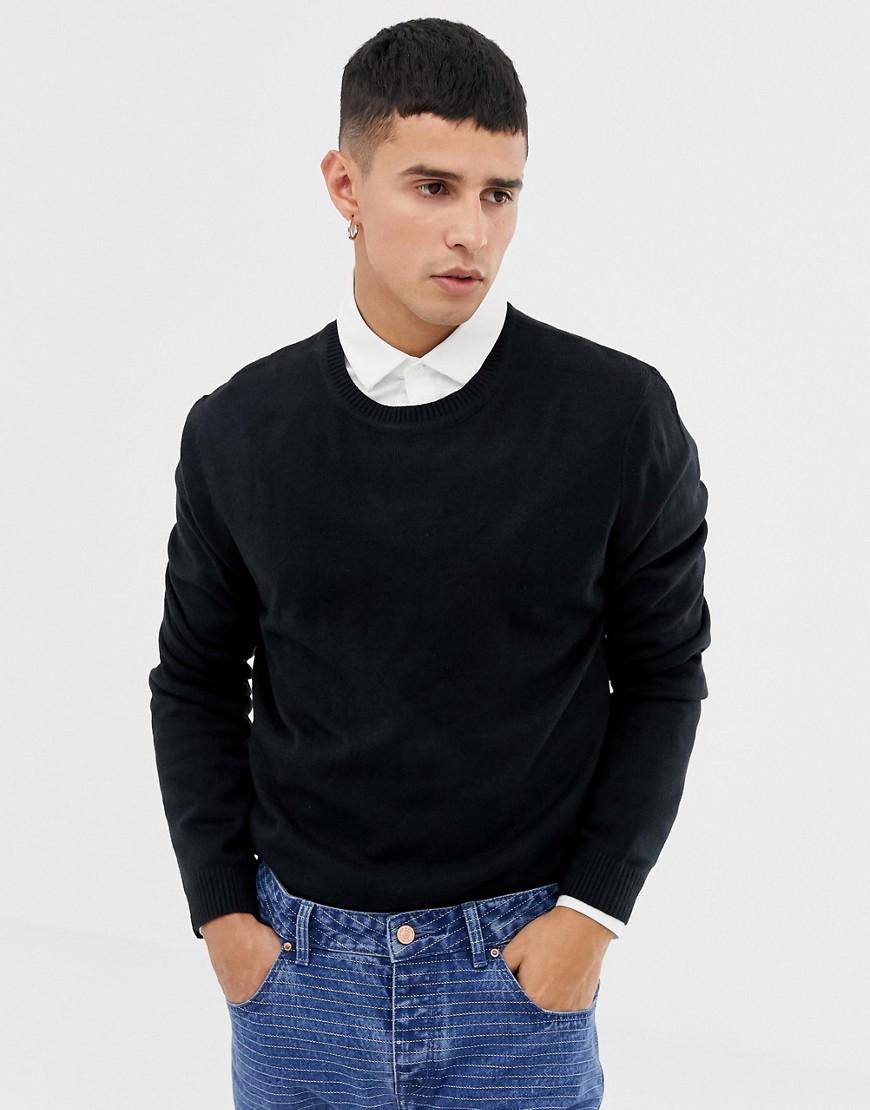 b03e1e96642 ASOS DESIGN knitted crew neck sweater in navy - Navy