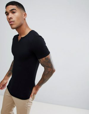 e91a068d ... ASOS DESIGN muscle fit t-shirt with raw notch neck in black - Black