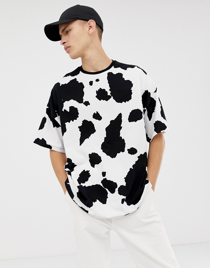 Asos Design Oversized T Shirt With All Over Cow Print White The
