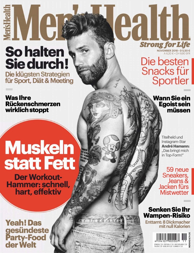 André Hamann Shirtless Men's Health Germany Cover