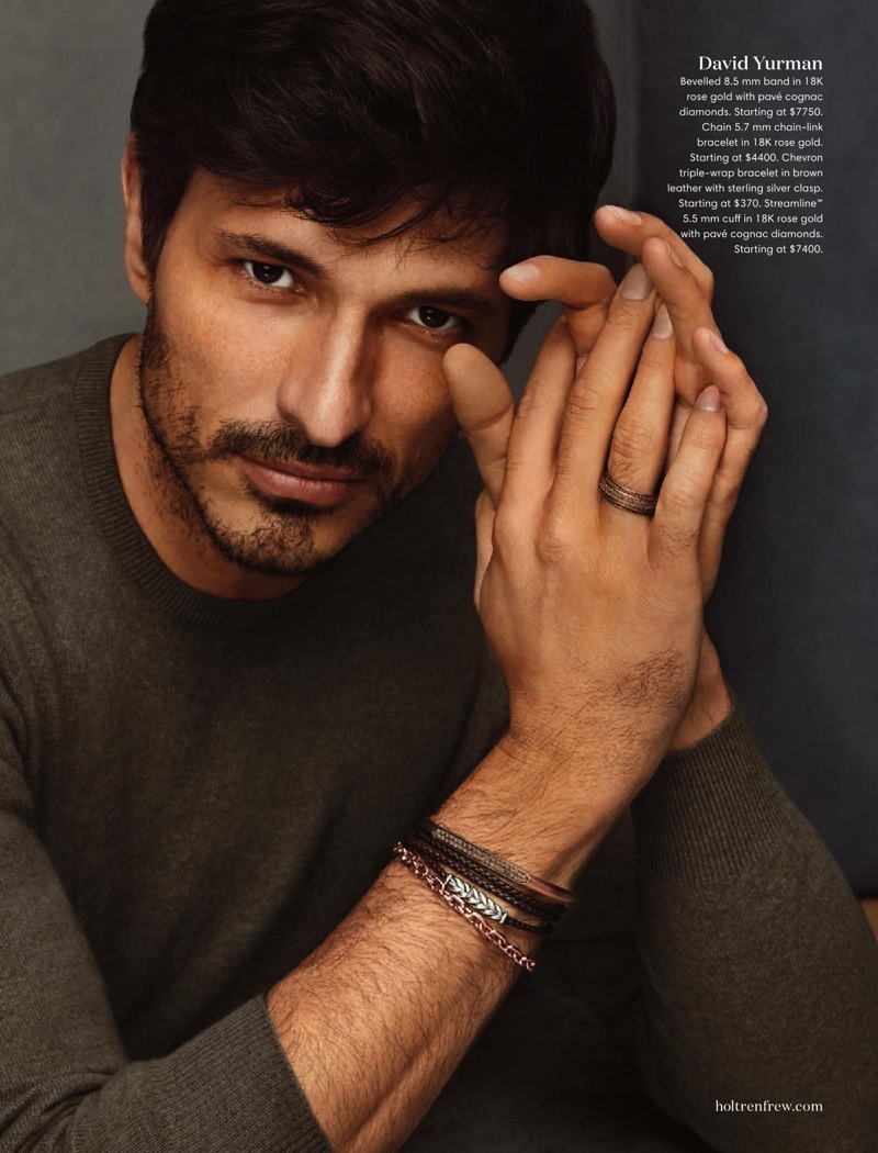 Ready for his close-up, Andres Velencoso models David Yurman accessories.