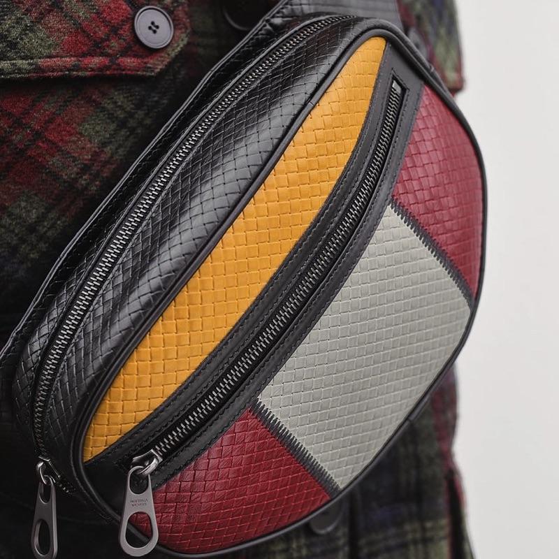 Bottega Veneta spotlights its micro intrecciato embossed belt bag.
