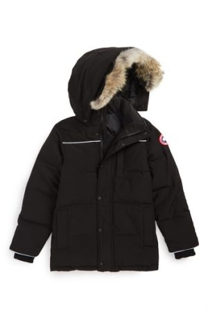 Boy's Canada Goose Eakin Genuine Coyote Fur Trim Down Parka