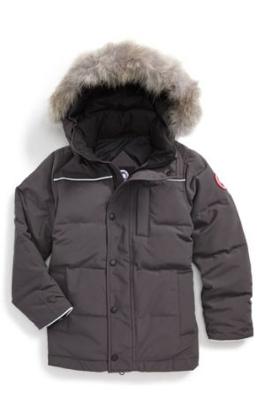 Boy's Canada Goose Eakin Genuine Coyote Fur Trim Down Parka, Size XS (6) - Grey