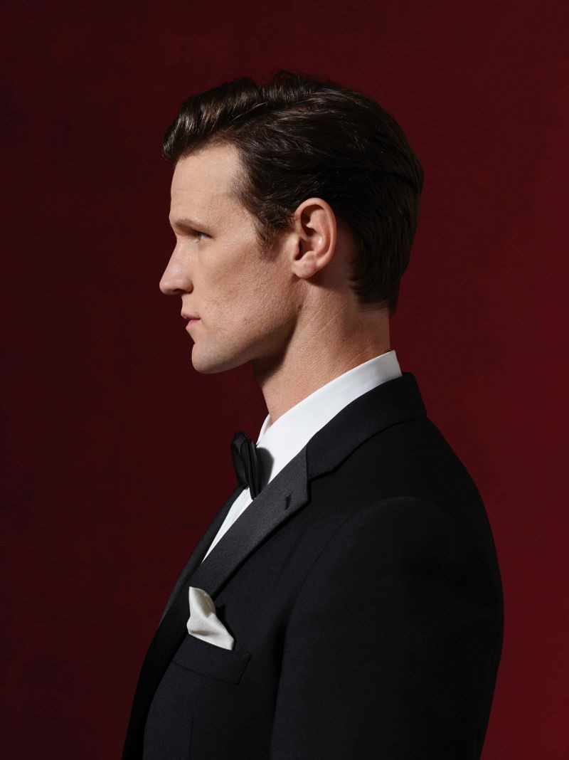 Donning a tuxedo, Matt Smith fronts Burberry's holiday 2018 campaign.
