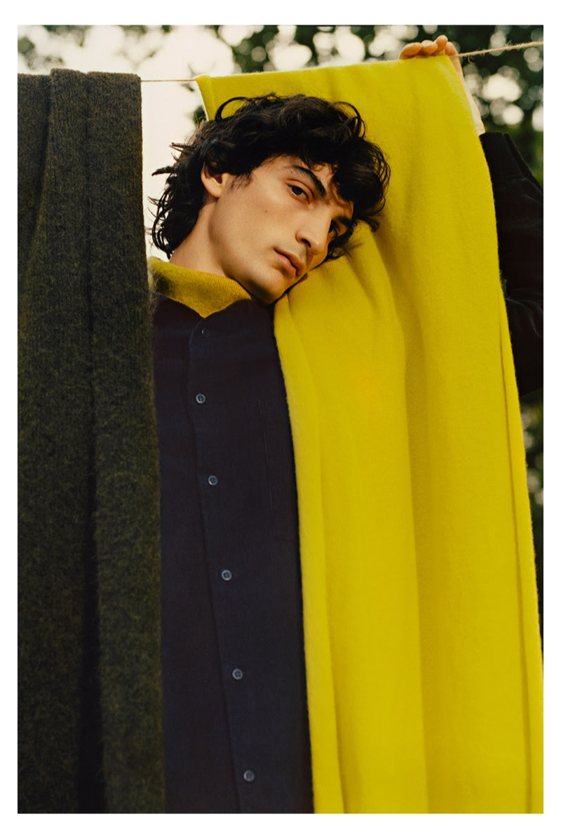 Embracing a winter cool, Luca Lemaire fronts COS' latest campaign.