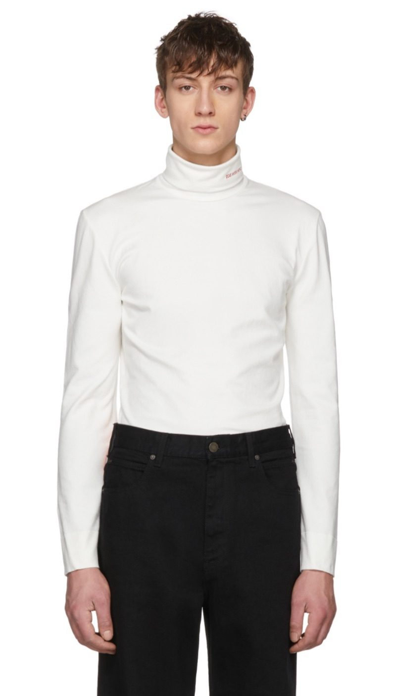 Calvin Klein 205W39NYC white logo turtleneck.