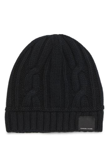 Canada Goose Cabled Merino Wool Toque Beanie - Black