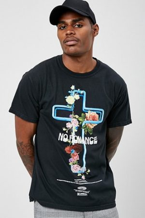 Civil Regime No Romance Graphic Tee by 21 MEN Black