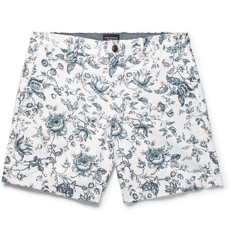 Club Monaco - Baxter Slim-FIt Floral-Print Linen and Cotton-Blend Twill Shorts - White