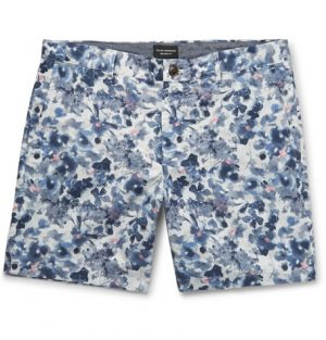 Club Monaco - Baxter Slim-Fit Floral-Print Linen and Cotton-Blend Twill Shorts - Blue
