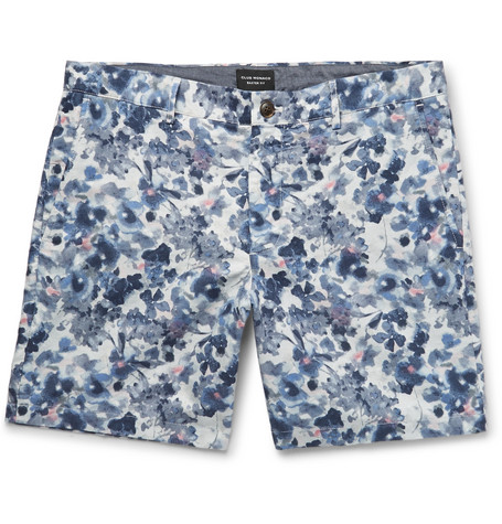 Club Monaco - Baxter Slim-Fit Floral-Print Linen and Cotton-Blend Twill Shorts - Blue