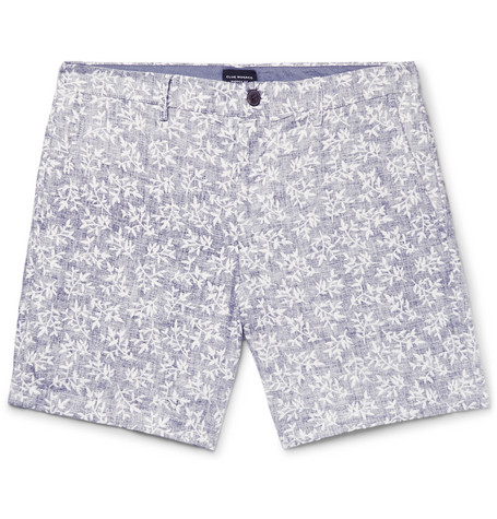 Club Monaco - Baxter Slim-Fit Printed Linen and Cotton-Blend Twill Shorts - Blue
