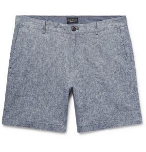 Club Monaco - Baxter Slim-Fit Stretch Linen and Cotton-Blend Shorts - Blue