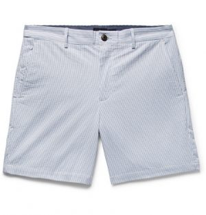 Club Monaco - Baxter Slim-Fit Striped Stretch-Cotton Seersucker Shorts - Light blue