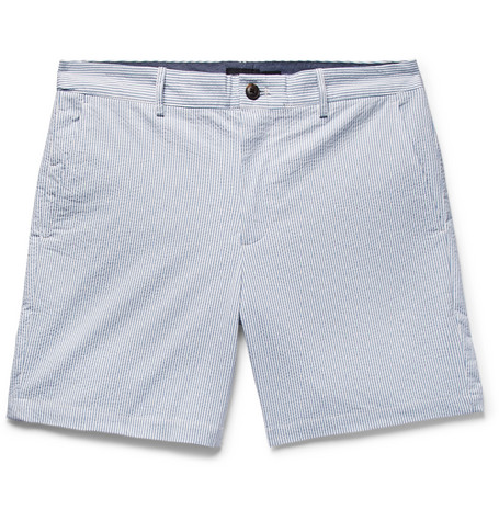 Club Monaco - Baxter Slim-Fit Striped Stretch-Cotton Seersucker Shorts - Light blue