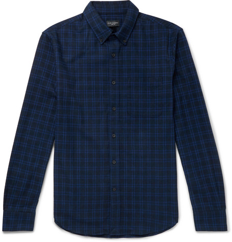 Club Monaco - Button-Down Collar Checked Brushed-Cotton Shirt - Navy