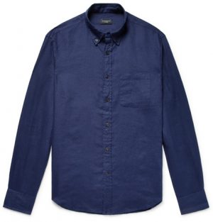 Club Monaco - Button-Down Collar Linen Shirt - Navy