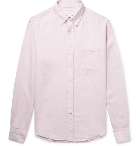 Club Monaco - Button-Down Collar Puppytooth Slub Linen Shirt - Pink