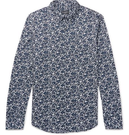 Club Monaco - Shadow Slim-Fit Button-Down Collar Printed Cotton-Poplin Shirt - Blue