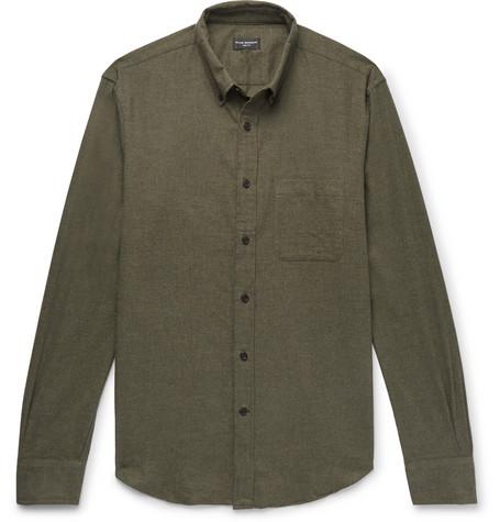 Club Monaco - Slim-Fit Button-Down Collar Cotton-Flannel Shirt - Army green