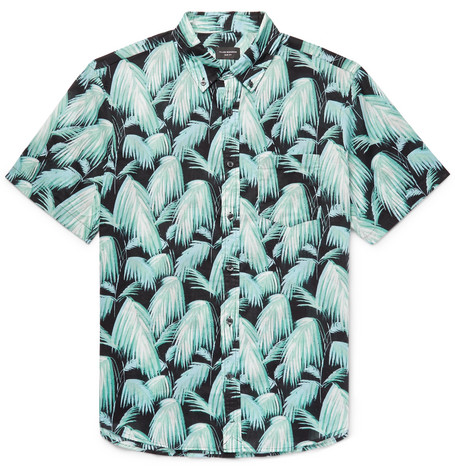 Club Monaco - Slim-Fit Button-Down Collar Palm-Print Cotton Shirt - Blue