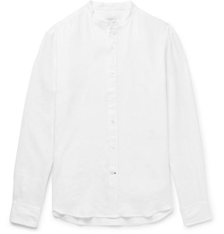 Club Monaco - Slim-Fit Grandad-Collar Linen Shirt - White