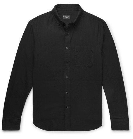 Club Monaco - Slim-Fit Herringbone Cotton Shirt - Black