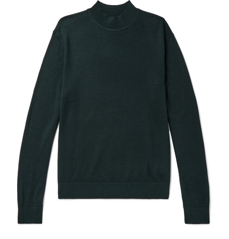 Club Monaco - Slim-Fit Merino Wool, Silk and Cashmere-Blend Mock-Neck Sweater - Emerald