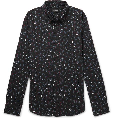 Club Monaco - Slim-Fit Printed Cotton-Poplin Shirt - Black