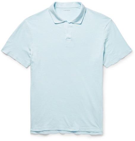 Club Monaco - Slim-Fit Slub Cotton-Jersey Polo Shirt - Sky blue