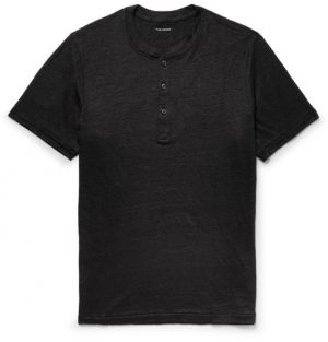Club Monaco - Slim-Fit Slub Linen-Jersey Henley T-Shirt - Black