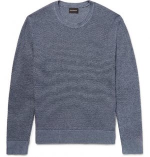 Club Monaco - Slim-Fit Textured Linen and Cotton-Blend Sweater - Blue
