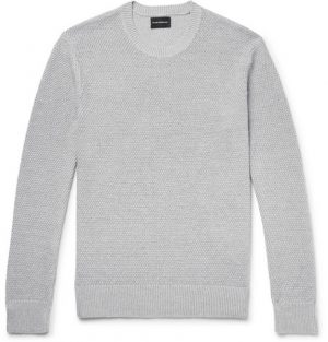 Club Monaco - Slim-Fit Textured Linen and Cotton-Blend Sweater - Gray