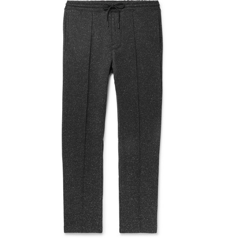 Club Monaco - Tapered Mélange Stretch-Jersey Sweatpants - Black