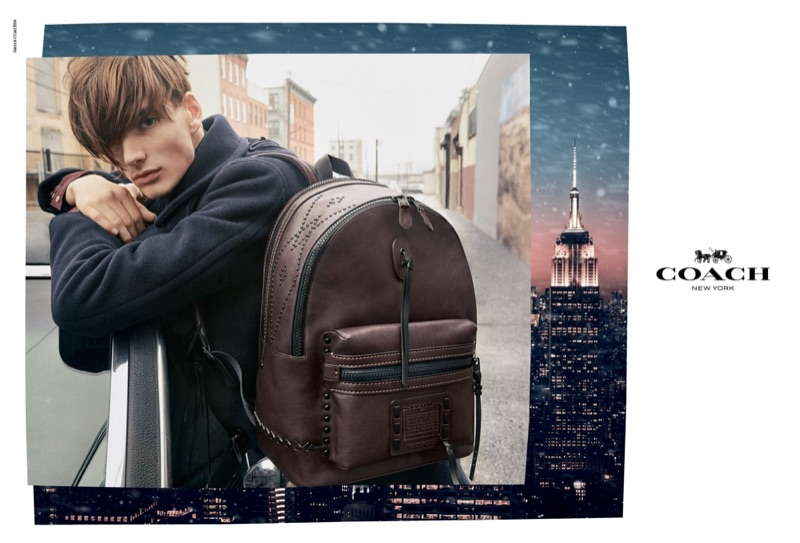 William Grant sports Coach's Academy backpack with whipstitch for its holiday 2018 campaign.
