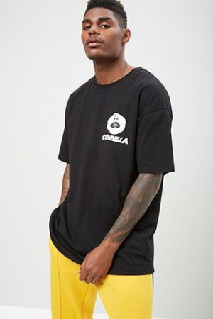 Corella Face Graphic Tee by 21 MEN Black