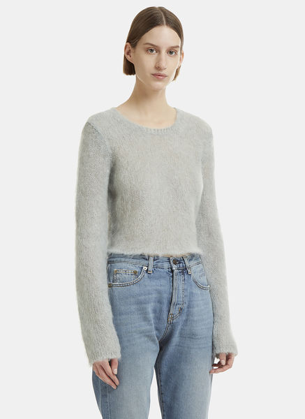 Cropped Mohair Blend Knit Sweater