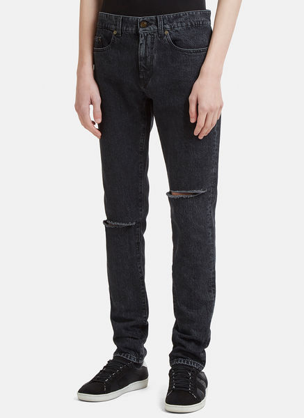 Destroyed Knee Low Waist Skinny Jean