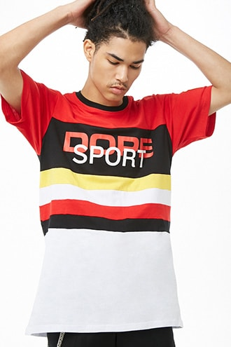Dope Colorblock Graphic Tee by 21 MEN Red/multi