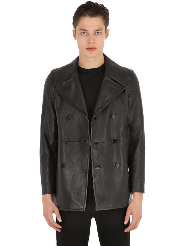 Double Breasted Leather Peacoat
