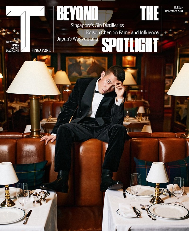 Donning a Ralph Lauren tuxedo, Edison Chen covers The New York Times Style Magazine Singapore.