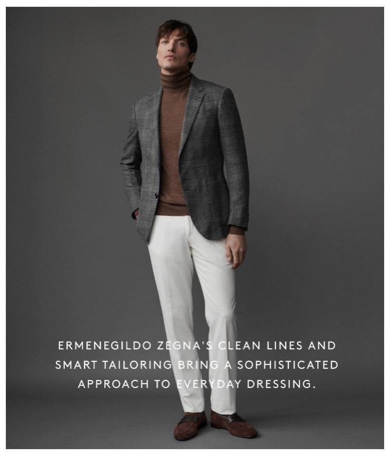 A smart vision, Michael Gandolfi wears tailored separates from Ermenegildo Zegna.