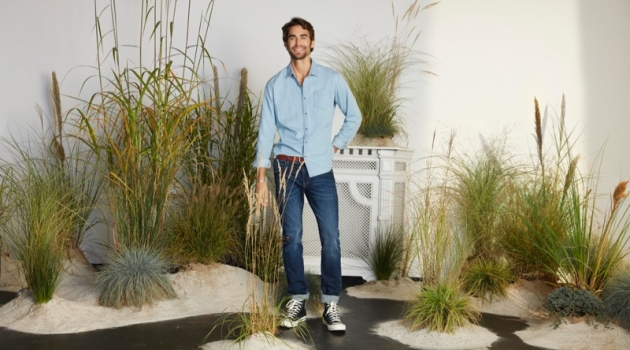 Nicolas Simoes dons a denim look from Esprit's spring-summer 2019 men's collection.
