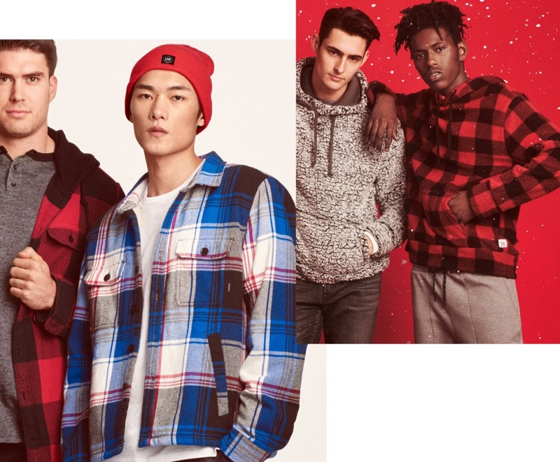 Flannel shirts and fleece hoodies are front and center for Express' holiday 2018 guide.