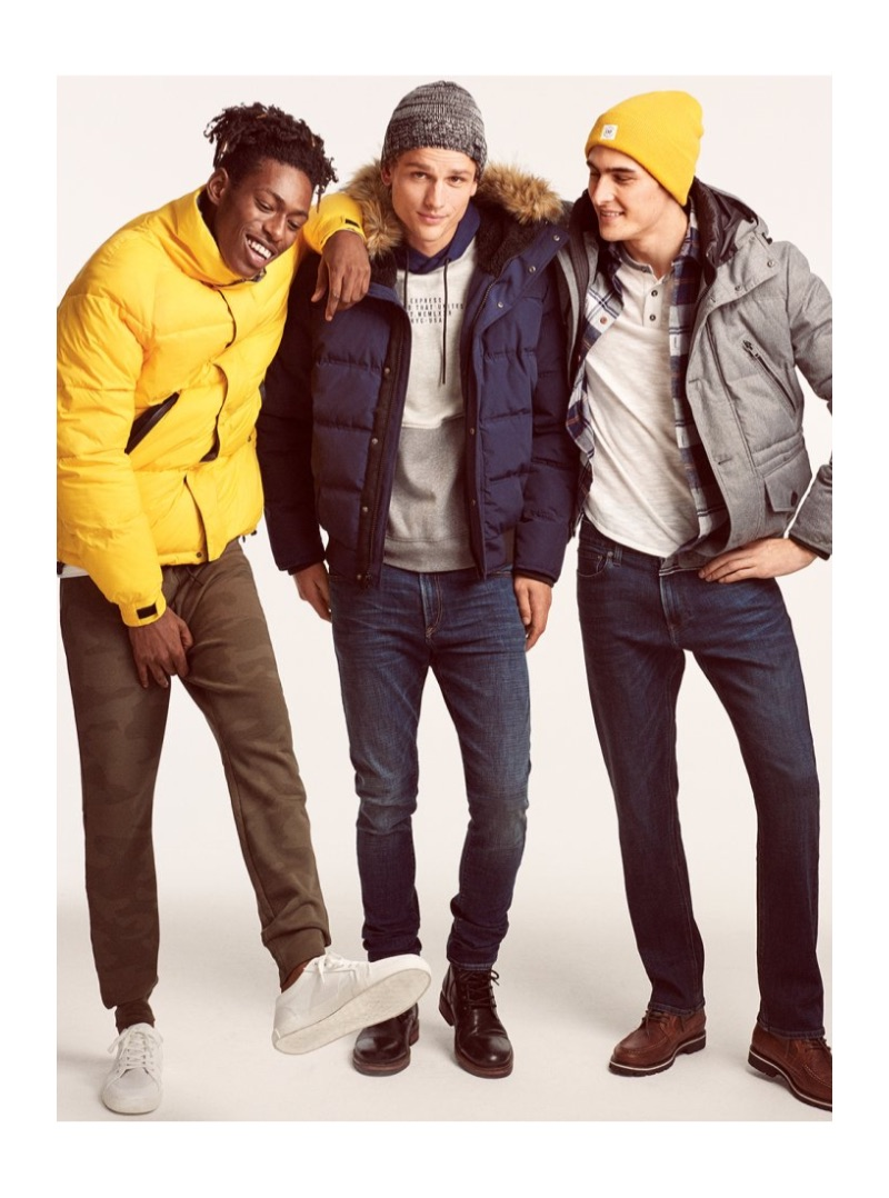 Shenai Gist, Simon Nessman, and Rhys Pickering bundle up for the cold in Express puffer jackets.