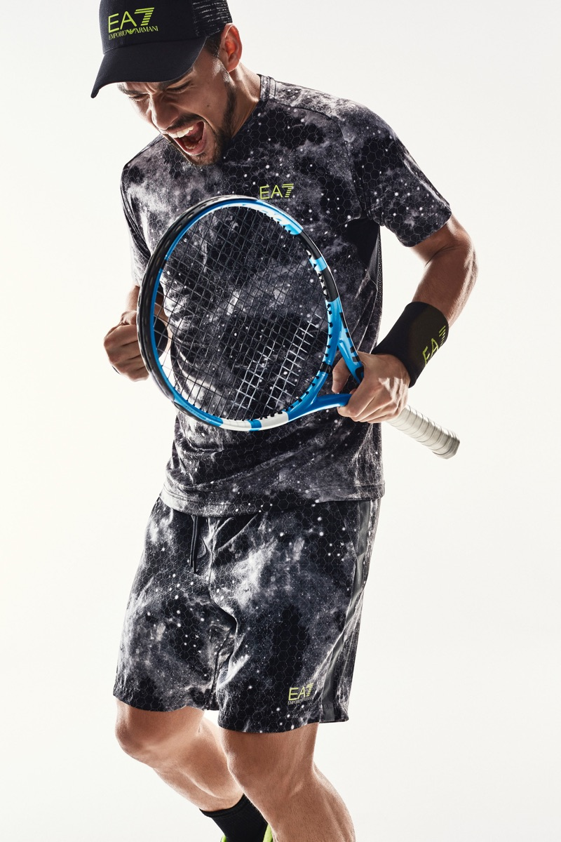 Embracing an all-over print, Fabio Fognini stars in EA7's campaign.